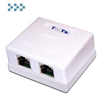 Розетка настенная, 2хRJ45, UTP, кат.5е, белая TWT-SM2-4545-WH