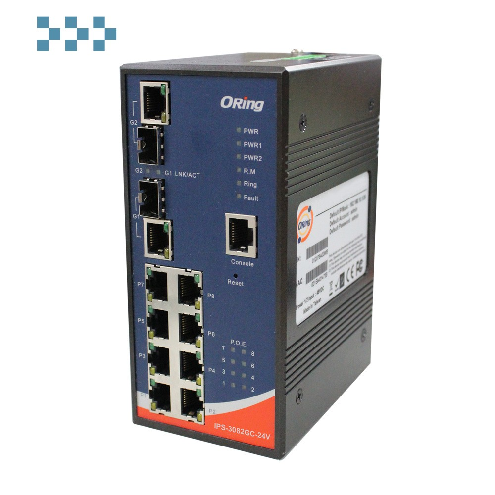 Промышленный PoE коммутатор ORing IPS-3082GC-24V