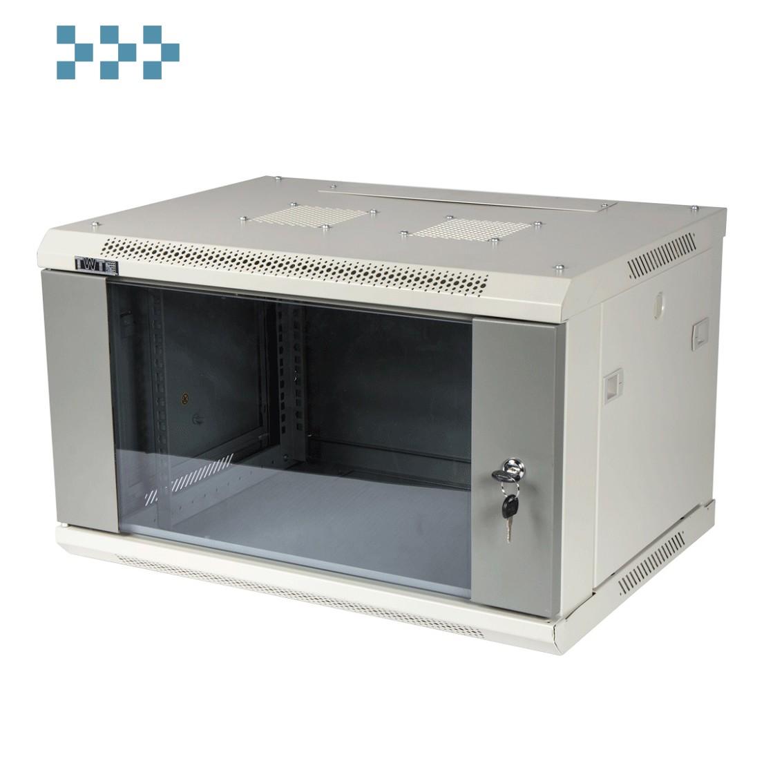 Шкаф настенный серии «PRO» со стеклянной дверью TWT-CBWPG-27U-6×8-GY