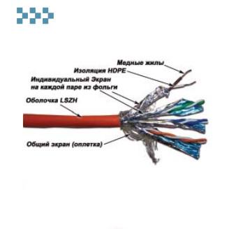 Кабель экранированный SSTP, 4-х парный, категории 7 LANMASTER LAN-7SSTP-GY