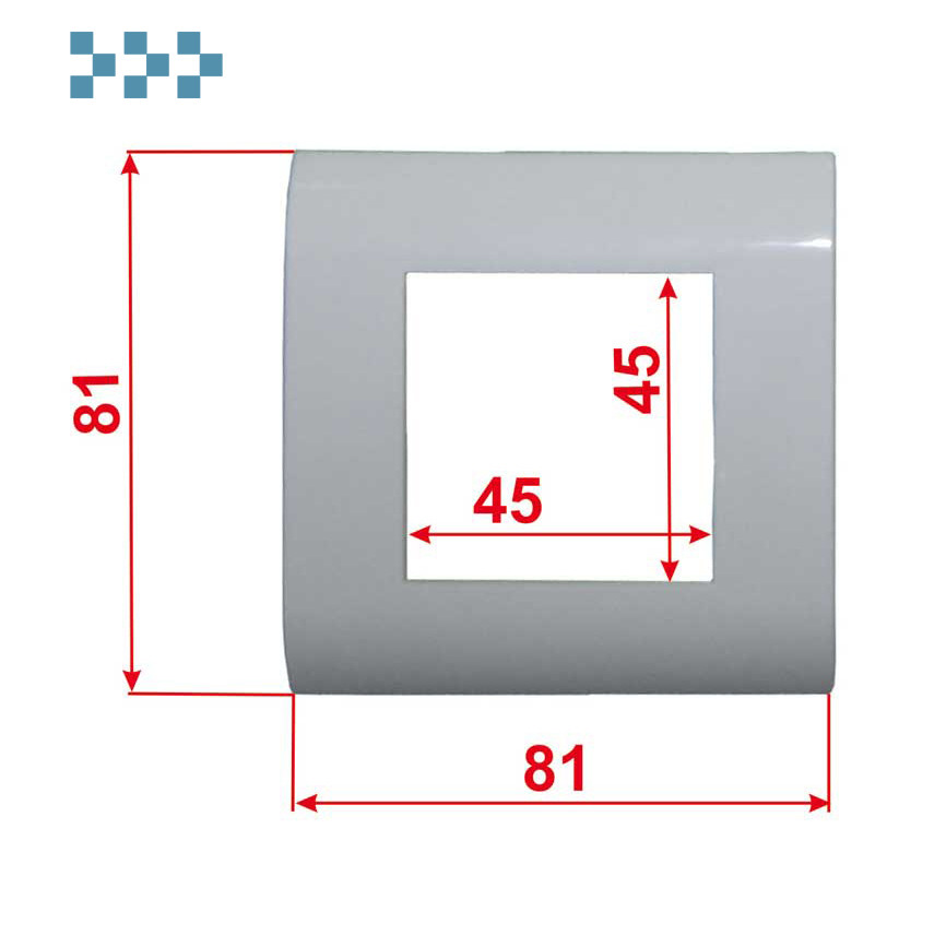 Лицевая рамка, французский стандарт LANMASTER LAN-FR45x45-WH