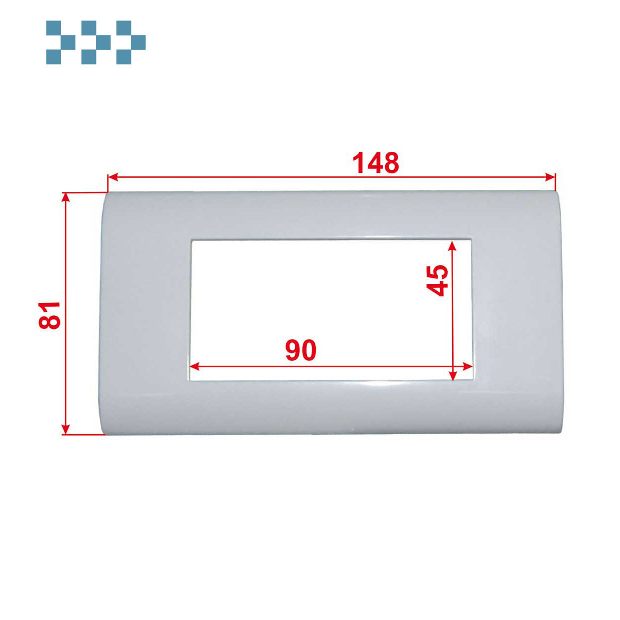 Лицевая рамка, французский стандарт LANMASTER LAN-FR45x90-WH