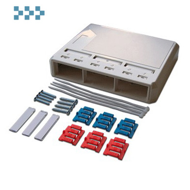 Коробка настенная под модульные вставки, с органайзером волокон LANMASTER LAN-MB-3FO-WH