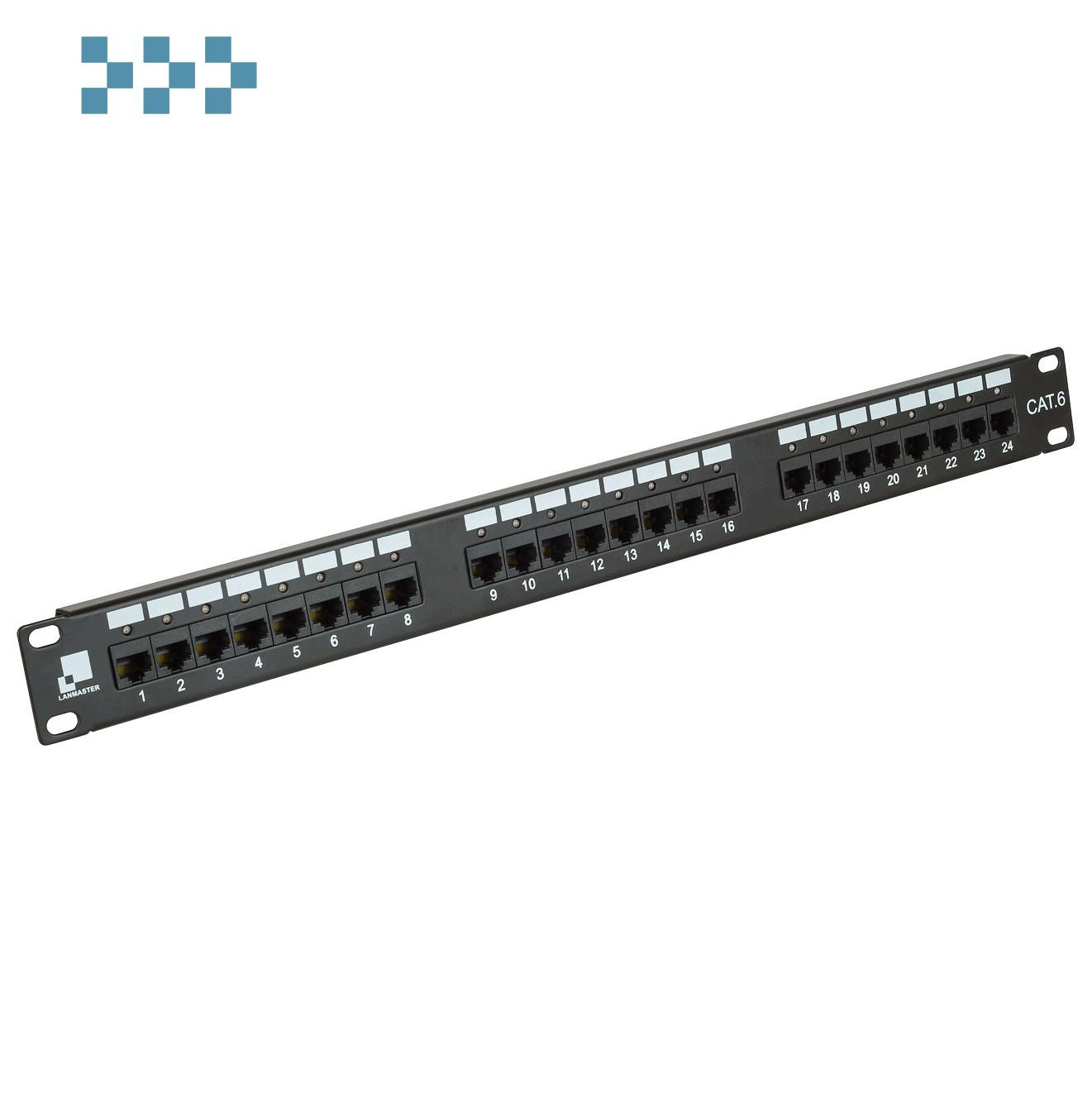 Патч-панель LANMASTER 24 порта с индикаторами, UTP LANMASTER LAN-PPi24U6