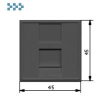 Вставка 45х45, 1 порт, со шторкой, черная LANMASTER LAN-SIP-23N-BK