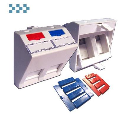 Угловая вставка под Keystone,со шторками, маркировкой и иконками LANMASTER LAN-SIP-24A-WH