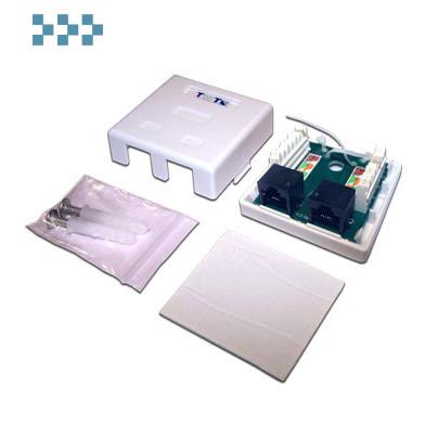 Розетка настенная, экранированная, 1-2 порта TWT-SM2-4545/S-WH
