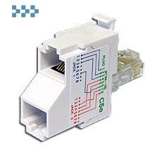 Т-адаптер категории 5е, 1 телефонный и 1 компьютерный порт TWT-T-E2-U2