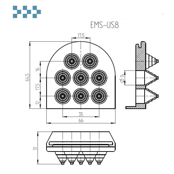 Кабельный ввод Elbox EMS-US8