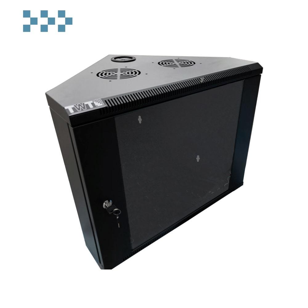Шкаф настенный угловой TWT-CBWTG-6U-6×6-BK