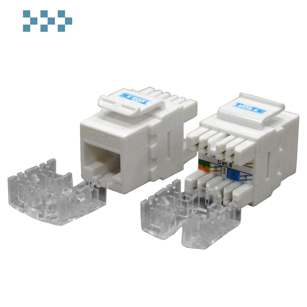 Модуль Keystone RJ45, Cat.6, UTP, 180 градусов, белый TWT-OK45UTP180/6-WH