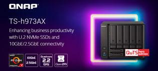 TS‑h973AX — гибридный 9‑дисковый NAS под управлением QuTS hero для сетей 10 и 2,5 Гбит/c от QNAP