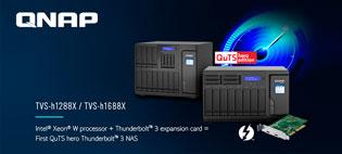 Гибридные NAS TVS‑h1288X и TVS‑h1688X с опцией добавления портов Thunderbolt 3