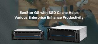 EonStor GS с поддержкой SSD-кэша способствует ускорению доступа к файлам и повышению производительности в различных корпоративных приложениях